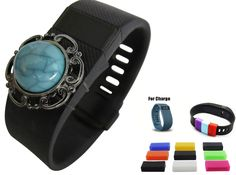 """""""Southwest Sky"""" Bling Charm and (10) Silicon FASTENERS for fitbit [trademark] Charge or Charge HR"""