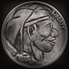 DAVID JONES HOBO NICKEL - 1935 BUFFALO PROFILE Hobo Nickel, Modern Times, Modern Artists, David Jones, Coins, Carving, Buffalo, Confidence, Cactus