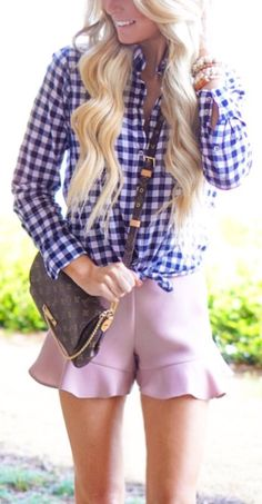 #spring #outfits Navy Checked Shirt & Pink Ruffle Short & Dark Printed Shoulder Bag