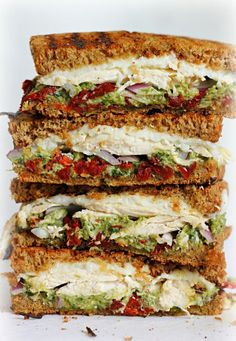 Chicken sun-dried tomato and asparagus pesto sandwich