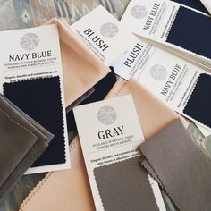 What goes well with Blush? Navy Blue or Gray. Excellent color palette for any wedding theme and wedding season.