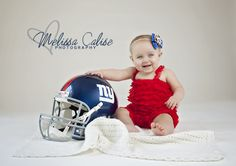 Melissa Calise Photography (Baby Girl First Birthday Portrait Football Giants NY New York Helmet Posing Ideas Photo Shoot)