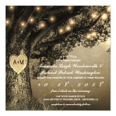 Vintage Rustic Carved Oak Tree Wedding Invitations - wedding invitations cards custom invitation card design marriage party
