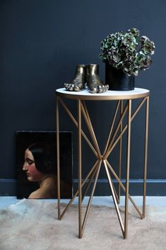 Butterfly Side Table - Brass & White Marble - View All - NEW