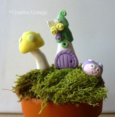 Polymer Clay Miniature Fairy Garden Set  by CreativeCottageNH