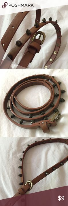 Brown spiked belt Skinny brown belt with bronze spikes!  Pretty fun to wear tbh  worn a few times. Tag says M but can fit S. PacSun Accessories Belts