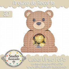 Caixa Urso Fofo,  Caixa, Urso, Fofo, Cute Bear Box, Cute, Bear, Box, teddy, projeto 3d, boxes, box, arquivo de recorte, caixa, 3d,svg, dxf, png, Studio Ilustrado, Silhouette, cutting file, cutting, cricut, scan n cut.