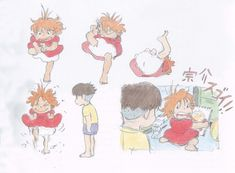 Enjoy a collection of Concept Art from Studio Ghibli Ponyo, featuring Character, Layout, Prop & Background Design. Hayao Miyazaki, Character Model Sheet, Character Art, Totoro, Personajes Studio Ghibli, Anna Cattish, Studio Ghibli Characters, Studio Ghibli Art, Girls Anime