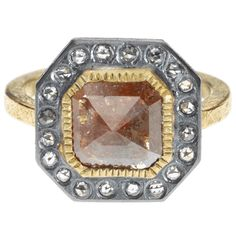 trdr716-15-sq | 18ky gold and sterling silver with patina, fancy cut diamond (1.4ctw), and white rose cut diamonds (.3ctw)