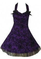 H&R Short Tattoo Flocked Halter Dress Purple