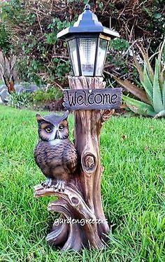 OWL WITH SOLAR LIGHT STATUE SOLAR OWL LANTERN FIGURINE