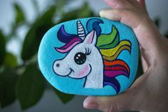 Rainbow Unicorn Approximately 8 x 10 cm This stone I found on the beautiful Greek island, Kefalonia. Painted on one side. Created with the intention to bring Magic and Joy into your life, and makes a unique gift.