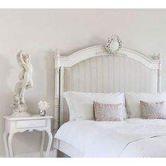Good morning from our Provencal Column Upholstered French Bed - this bed seems to encapsulate femininity and masculinity perfectly to keep everyone happy with soft striped upholstery and intricately hand-carved regal crests it. Wood And Upholstered Bed, Baroque Bedroom, Painted Beds, White Headboard, Living Room Background, French Bed, Living Room Tv, French Furniture, Country Decor