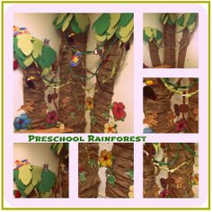 Preschool Rainforest display. Children created the leaves, vines, and the animals.