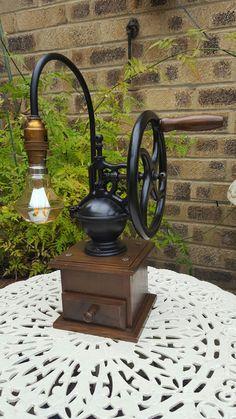 - Coffee Grinder - Ideas of Coffee Grinder Antique Light Bulbs, Antique Light Fixtures, Antique Lamps, Best Coffee Grinder, Rustic Bedroom Design, Steampunk Lamp, Cool Lamps, Unique Lighting, Vintage Coffee