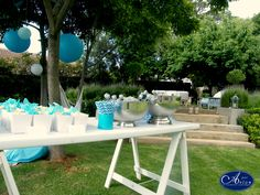 Easy ideas for your functions at home. Garden, blue theme party - Popcorn/ Chips snack Please contact us for future information www.par-avion.co.za/ 011 701 2600 JHB, Cape Town