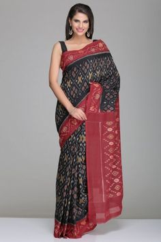 Black Pochampally Cotton Saree With Grey Checkered Pattern And Maroon Border And Pallu