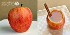 Delicious & Edible Apple Cups! Add some cider and a cinnamon straw and it's the perfect fall treat!