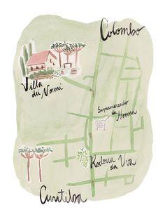 Mapa ilustrado do local do casamento, feito em aquarela e entregue junto com o convite de casamento.