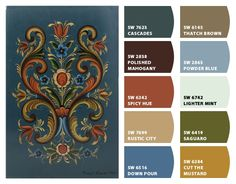 """Rosemaling-Norwegian Tradition"" Color Palette Inspiration Chip It! by Sherwin-Williams – Home Colour Pallette, Colour Schemes, Color Combos, Theresa Bar, Norwegian House, Norwegian Rosemaling, Scandinavian Folk Art, Color Swatches, House Painting"