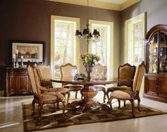 Interior 7 Piece Calming Brown Dining Room With Round Wooden Dining Table Set Also Storages On