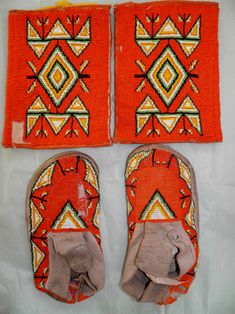 Vintage Sioux Beaded Moccasins & Armbands