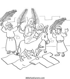 Free Palm Sunday Coloring Sheets | Bible Lessons, Games and Activities | BibleFunFactory.com