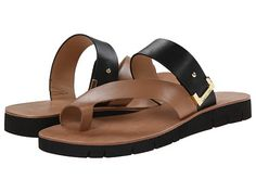 Calvin Klein Calvin Klein  Pax Sand GoldBlack Leather Womens Sandals for 57.99 at Im in!