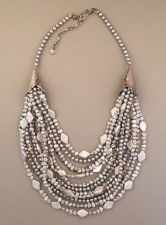 Multi-strand freshwater pearl and sterling silver statement necklace. Handcrafted, one-of-a-kind.