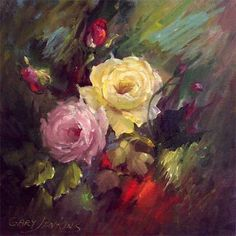 gary jenkins artist - typical Gary Jenkins style of oil painting - a flower magician.