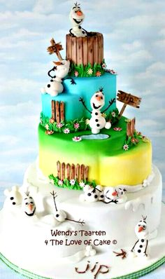 Frozen's Olaf Cake - I've seen so many frozen cakes, but this one is CUTE!! Love all the different tiers and levels too