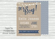 Printable Baby Boy Shower invitation. Blue and white with tan craft paper looking back. String of lights. Customized shower invitation, printable