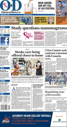 The front page for Thursday, Oct. 13, 2016: Stroke care being offered closer to home