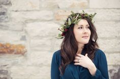 Elegant Red Orchid/Eucalyptis Winter Flower Crown. For engagement,  bridal party or Weddings.
