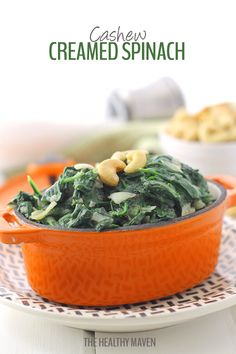 Ditch the cream and replace it with cashews! This cashew creamed spinach, made from blended cashews makes a delicious and nutritious dinner side and is ready in under 5 minutes!