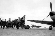 Spitfire pilots scramble during the Battle of Britain.