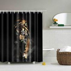 "Svetanya Tiger Print Shower Curtains Bath Products Bathroom Decor with Hooks Waterproof 71x71"" 59x71"""
