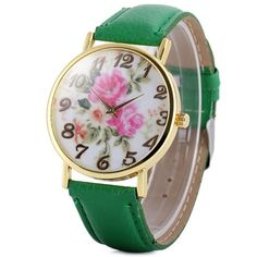 Womage 1089-6 Fashionable Quartz Watch with Arabic Numerals Display Flowers Pattern and Leather Watchband for Women #shoes, #jewelry, #women, #men, #hats, #watches