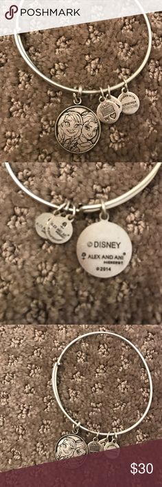 Alex and Ani Ana and Elsa Silver alex and Ani bracelet. With Ana and Elsa on it! Great condition!! No tranishes. Alex & Ani Jewelry Bracelets