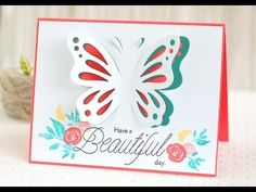 cardmaking video tutorial: Papertrey Ink Make it Monday #171: Diecut butterfly with pop-up wings ... partial die cutting technique ...