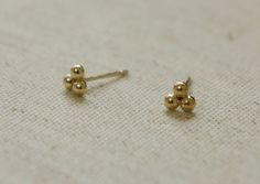 10K Gold tiny 3 beads triangle earrings 10k real by tinytinygold