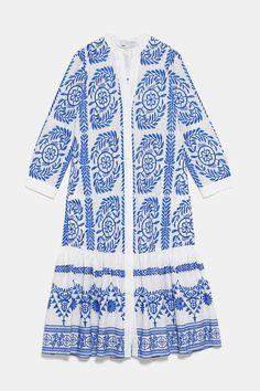 ZARA - Female - Embroidered shirt dress - Blue / white - S Meghan Markle, Mom Dress, Shirt Dress, Vestidos Zara, Blue Dresses, Dresses With Sleeves, Dress Outfits, Fashion Outfits, Zara Fashion