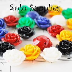 10 17mm Resin Rose Beads (ca). Starting at $4 on Tophatter.com!