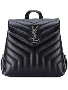 Shop Saint Laurent Small Monogram Leather Backpack.