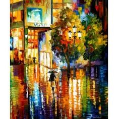 "JOY REFLECTIONS-  PALETTE KNIFE Oil Painting On Canvas By Leonid Afremov -  Size 30"" x 36"""