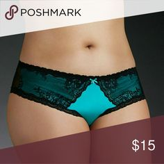 TORRID SZ 3 Mesh Back Lace Hipster Torrids  best-selling hipster cut, this bright and bold turquoise microfiber panty has racy black lace trim and side insets. A black mesh back plays a sexy game of peekaboo with a keyhole cutout, while the ruched center complements your rearview. Faux pearl accent. torrid Intimates & Sleepwear Panties