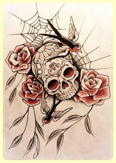 dia de los muertos art - Candy skull with swallows and roses by on deviantArt Pretty Skull Tattoos, Sugar Skull Tattoos, Girly Tattoos, Mom Tattoos, Sleeve Tattoos, Tatoos, Day Of The Dead Tattoo Designs, Day Of The Dead Skull Tattoo, Skull Artwork