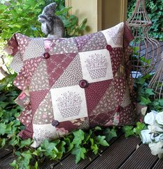 """""""A Budding Romance"""" by Sally Giblin of The Rivendale Collection. Finished cushion size: 16½"""" x 21"""""""