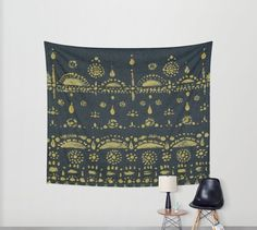 Gold Black Wall Tapestry black gold tapestry black by lake1221