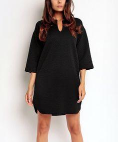 Look at this #zulilyfind! Black Shift Dress #zulilyfinds Viscose ? and  poly  was $99. Now $⁴0.